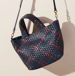 Anthropologie Woven Basket Tote & Pouch or Clutch